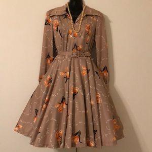 true 60s vintage tulip secretary dress with belt